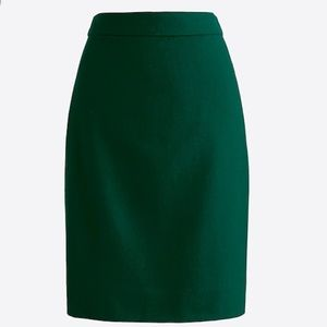Size 2 Wool J. Crew Pencil Skirt Dark Green No. 2